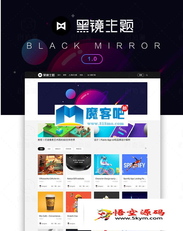 黑镜主题2.0(BlackMirror)WordPress响应式设计素材教程类主题模板